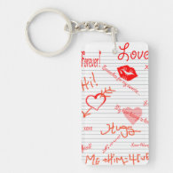 Love Doodles Key Chain Rectangular Acrylic Keychains