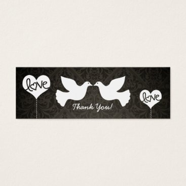 Love Doves Thank You tags (black and gray damask)