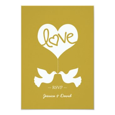 Love Doves with Heart RSVP (rimmed gold) Card