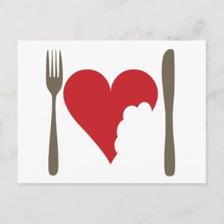 Love food, Love heart Postcard