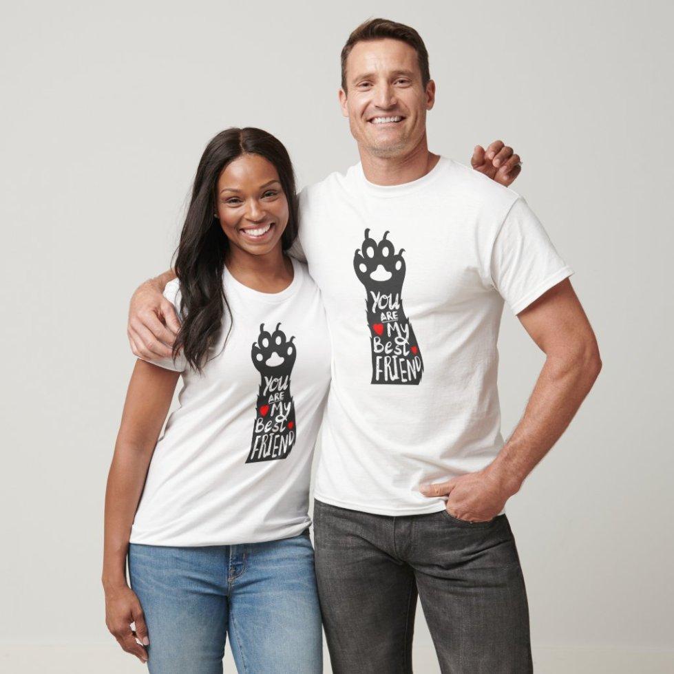 Love paw -  best friend - Choose back color T-Shirt