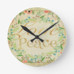 Love,peace,gold,typography,rustic,floral,vintage,c Round Clock