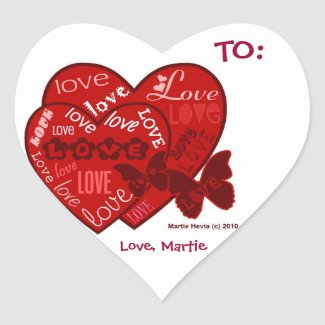 Love Valentine's (Personalize) - Heart Stickers