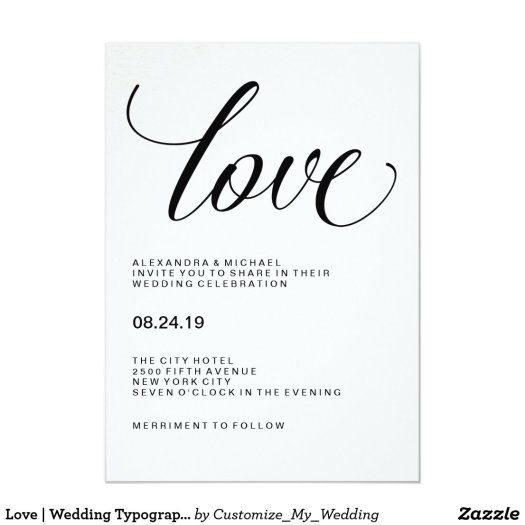 Love | Wedding Typography on Watercolor Paper Card
