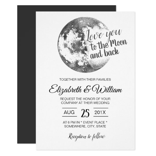 Love You To The Moon And Back Elegant Wedding Invitation