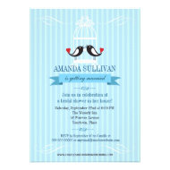 Lovebirds Blue Bridal Shower Invitation