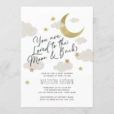 Loved to the Moon and Back Baby Shower Gold White Invitation