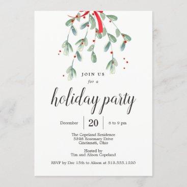 Lovely Mistletoe Christmas Holiday Party Invites