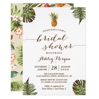 Luau Tropical Leaves Pineapple Bridal Shower Card