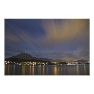 Lucerne Switzerland Night Scene with Mount Pilatus Poster