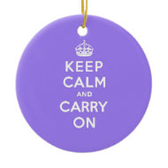 Lucious Lavender Keep Calm and Carry On Ornament