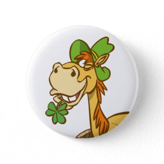 Lucky Cartoon Horse on St Patrick's Day button button