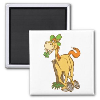 Lucky Cartoon Horse on St Patrick's Day magnet magnet
