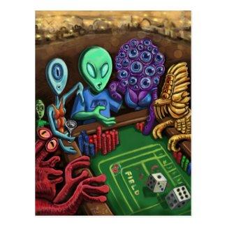 Lucky Lou In Las Vegas- Aliens Playing Craps Postcard