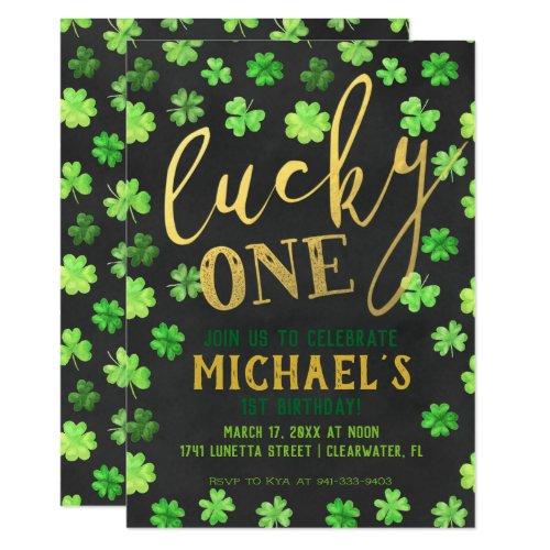Lucky One   St. Patrick's Day 1st Birthday Invitation