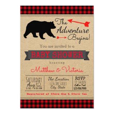 Lumberjack Buffalo Plaid Boys Bear Baby Shower Card