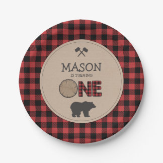 Lumberjack First Birthday Paper Plates Red Plaid