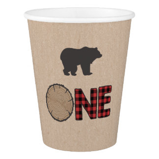 Lumberjack Paper First birthday bear Woodland One Paper Cup