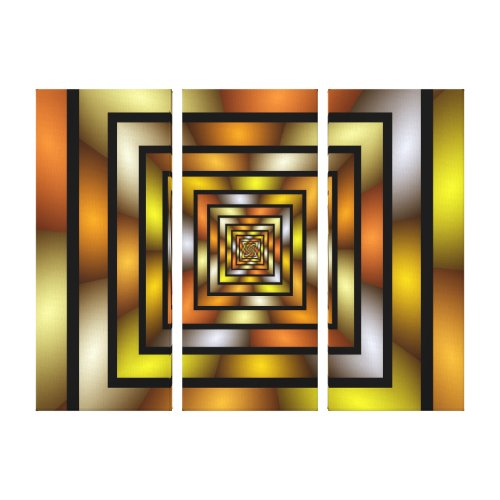 Luminous Tunnel Colorful Graphic Fractal Pattern Canvas Print - orange optical illusion art.