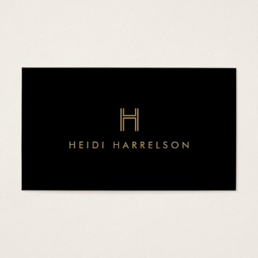 LUXE MODERN BLACK AND GOLD INITIAL MONOGRAM LOGO BUSINESS CARD