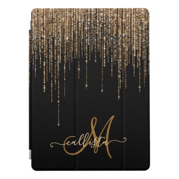 Luxury Chic Black Gold Sparkly Glitter Fringe iPad Pro Cover