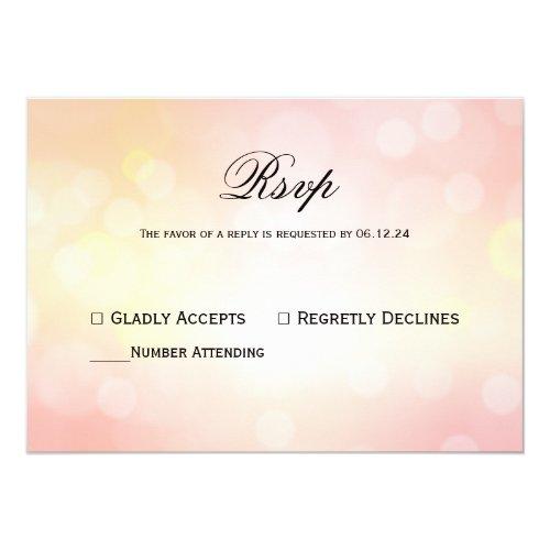 Luxury Pink glitter  Bokeh Light Wedding Response Invitation