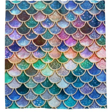 Luxury summerly multicolor Glitter Mermaid Scales Shower Curtain
