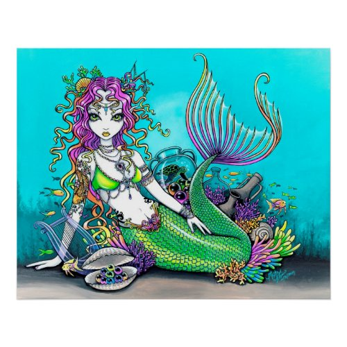 mermaid, tropical, sea, turtle, coral, shell, lyre, fish, koi, tattoo,