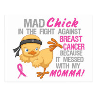 Mad Chick Messed With Momma 3 Breast Cancer.png Postcard