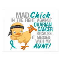 Mad Chick Messed With My Aunt 3 Ovarian Cancer Postcard
