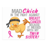 Mad Chick Messed With Twin Sister 3 Breast Cancer Postcard