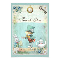 Mad Hatter Wonderland Wedding Thank You Card