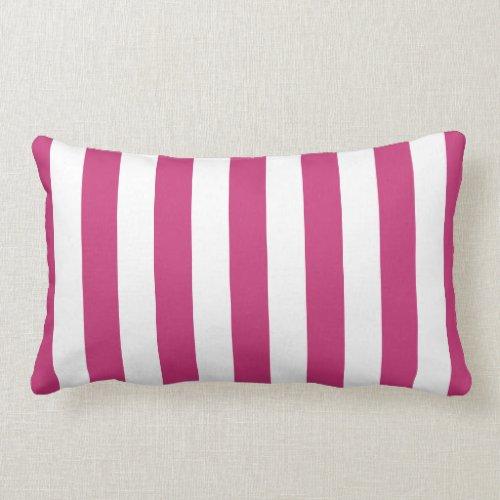 Magenta Pink Cabana Stripes Lumbar Pillow