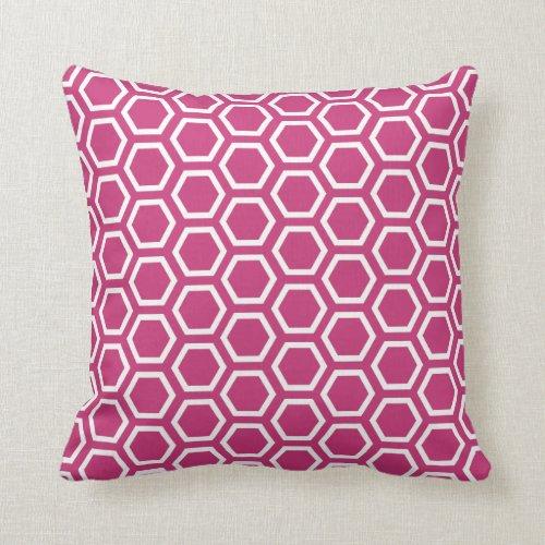 Magenta Pink Honeycomb Pattern Throw Pillow