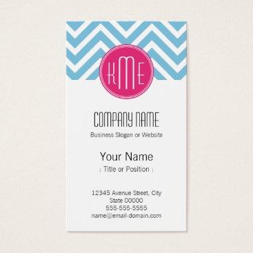 Magenta Pink Monogram with Light Blue Chevron Business Card