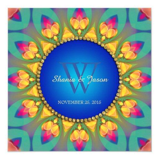 Magical Bohemian Sunflower Monogram Invitation
