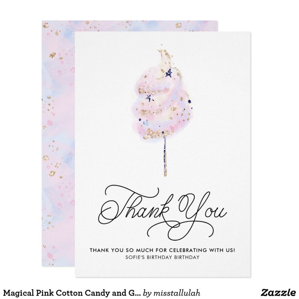Magical Pink Cotton Candy and Glitter Thank You Invitation