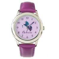 Magical Purple and Blue Rearing Unicorn | Believe Wrist Watch