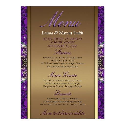 Magical Sparkle Gold Purple Wedding Big Size Menu Card