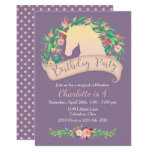 ❤️ Magical Unicorn Floral Birthday Party Invitation