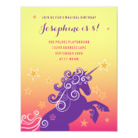 Magical Unicorn Girls Birthday Party Invitation