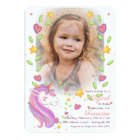 Magical Unicorn Photo Invitation