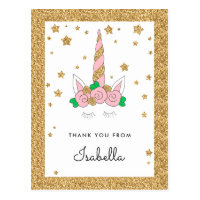 Magical Unicorn Pink and Gold Glitter Thank you Postcard