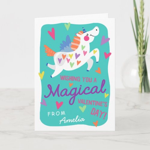 Magical Unicorn Valentine's Day Greeting Card