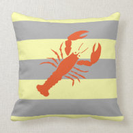 Maine Lobster Yellow and Gray Beach Stripe Throw Pillow