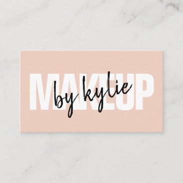 Makeup artist bold signature script blush pink business card