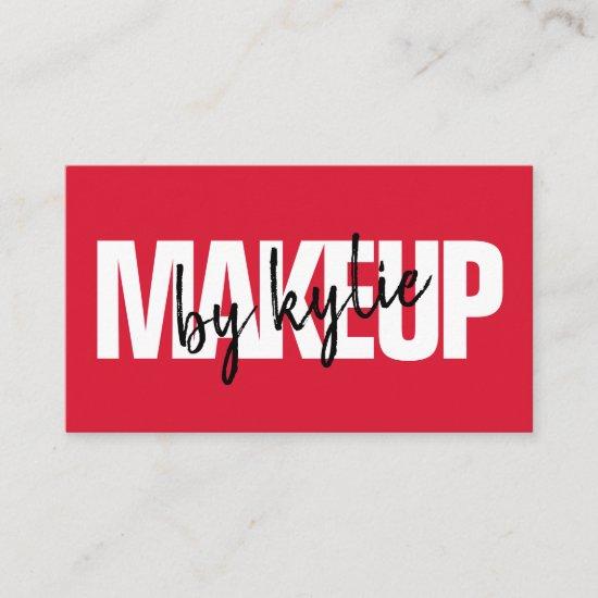 Makeup artist bold signature script bold red business card