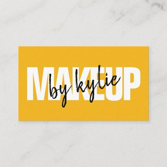 Makeup artist bold signature script bold yellow business card