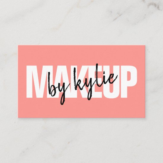 Makeup artist bold signature script coral red business card