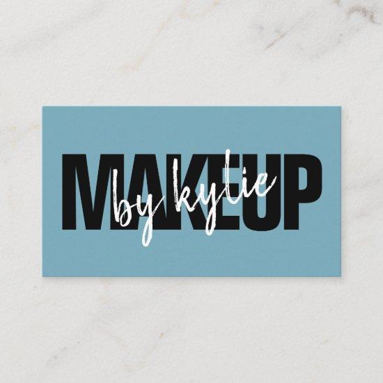 Makeup artist bold signature script pastel blue business card